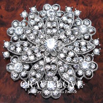 煌き輝く 大きめ デザイン フラワー モチーフ ピン ブローチ N33 | 花 大きいサイズでボリューム感のある おしゃれ なブローチ。【 Crave-Love Jewelry bijoux Paris 】
