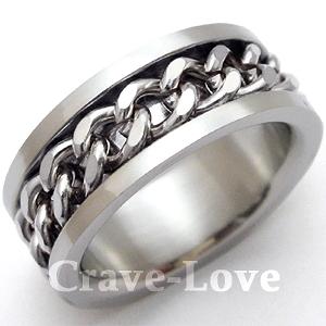チェーン・リンク・デザイン・ステンレス・リング/S 指輪 幅広【 Crave-Love クレィヴ ラブ 】