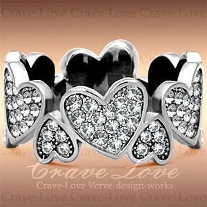 ハート パヴェ エタニティ ステンレス リング / 指輪 女性 レディース リング 大きめ 大きいサイズ もあります。トラベルジュエリー 誕生日プレゼント 結婚式にも・・【 Crave-Love Jewelry bijoux Paris 】