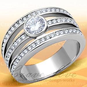 エレガント 3連風 デザイン シルバー ステンレス リング/指輪/キュービックジルコニア(ダイヤモンド色)/ プラチナ色 女性 レディース リング 大きいサイズ もあります。 トラベルジュエリー・結婚式・誕生日プレゼントにも・・【 Crave-Love 】