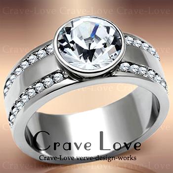 大粒 クリスタル ステンレス リング/スワロフスキー/指輪 女性 レディースリング 大きめ 大きいサイズ もあります。トラベルジュエリー 誕生日プレゼント 結婚式にも・・【 Crave-Love Jewelry bijoux Paris 】