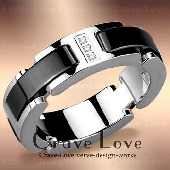 ブラック セラミック ステンレス リング/シルバー/G/指輪レディースリング 女性 おしゃれ ファッション ジュエリー 海外 デザイナーズ アクセサリー ステンレスリング【 Crave-Love Jewelry bijoux Paris 】