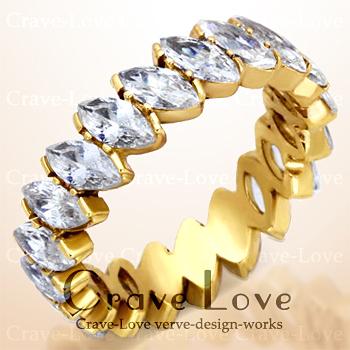 マーキス エタニティ ゴールド ステンレス リング 指輪 ETERNITY RING エターナルリング マルキーズ K18 ゴールド カラー | ボリューム感 女性 レディース リング 大きめ 大きいサイズ もあります トラベルジュエリー 誕生日プレゼント 結婚式にも・