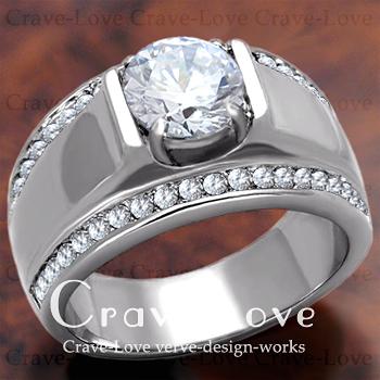 【メンズリング 男の指輪 メンズアクセサリー】豪華デザイン メンズ ステンレス リング/指輪/RM19 ボリューム 幅広 立て爪   プラチナ シルバー カラー ファッション リング ジュエリー 大きいサイズもあります。【 Crave-Love Bijoux Paris 】