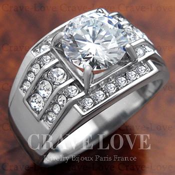 【 訳あり商品 わけあり商品 理由あり B級品 】【 OA705 】 豪華デザイン メンズ ステンレス リング | 指輪 | RM5-S キュービックジルコニア(ダイヤモンド色)| 幅広 | 男性 | 【 サイズ 19.5号 】 【 Crave-Love Jewelry bijoux Paris 】