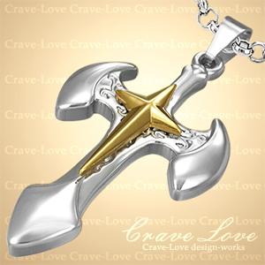 アックス クロス スター ステンレス ペンダント ネックレス No.1 / 十字架 / AXE STAR GOLD CROSS / プラチナ色 シルバーカラー/ 18kゴールドカラー 【 Crave-Love クレィヴ ラブ 】