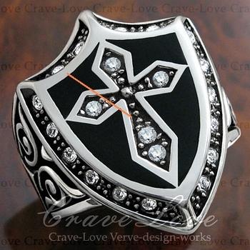 訳あり商品 わけあり商品 理由あり B級品OA577ナイト 騎士シールド 盾ゴシックデザイン リング 十字架 クロスキュービックジルコニア ダイヤモンド色サイズ 26 5号Crave Love Jewelry bijoux ParisuiXZkP