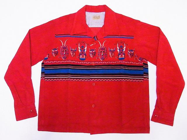 STYLE EYES 日本正規代理店品 スタイルアイズ 長袖 オープンカラーシャツ SE28257 オープンシャツ スポーツシャツ 送料無料 定価の67%OFF MASK AFRICAN レッド コーデュロイ 代引き手数料無料