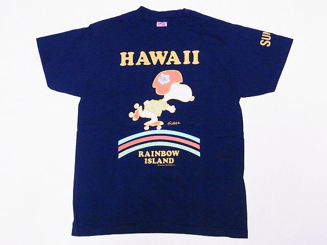 SUN SURF[サンサーフ]×PEANUTS[ピーナッツ] Tシャツ スヌーピー SNOOPY SS78115 RAINBOW ISLAND (ネイビー)