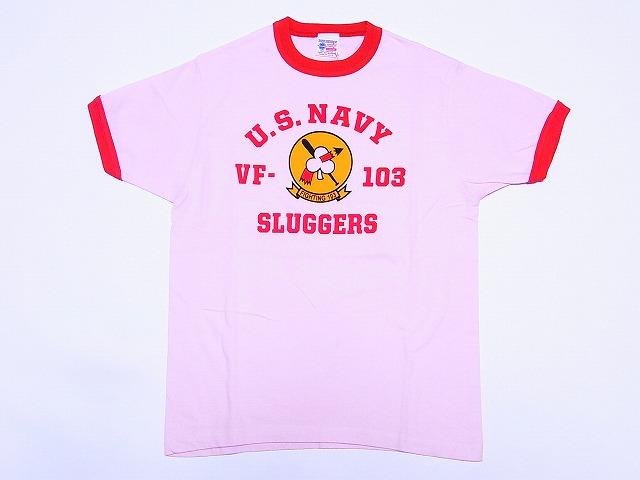 Buzz Rickson's[バズリクソンズ] Tシャツ リンガー F-103 SLUGGERS BR76285 (PINK)