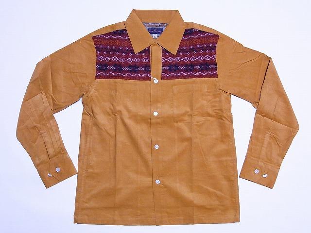 Dry Bones[ドライボーンズ] オープンシャツ 長袖 Jacquard Combination Open Shirt DS-1865 (MUSTARD×RED) 送料無料【smtb-kd】