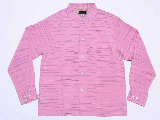 セール特別価格 Dry Bones ドライボーンズ 長袖 オープンカラーシャツ 2014 オープンシャツ Border 送料無料 Open 期間限定特別価格 Shirt DS-2048 代引き手数料無料 PINK Nep
