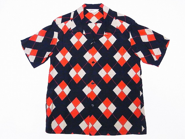 STAR OF HOLLYWOOD [star of Hollywood] open shirt ARGYLE SH37593 argyle short sleeves open collar shirt (black) collect on delivery fee for free