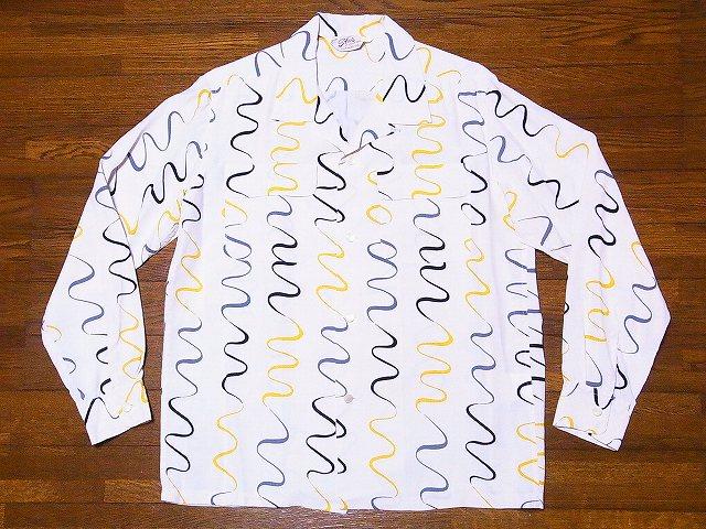 STAR OF HOLLYWOOD[スターオブハリウッド] オープンシャツ SH28123 長袖 WAVY STRIPE オープンカラーシャツ (オフホワイト) 送料無料【smtb-kd】