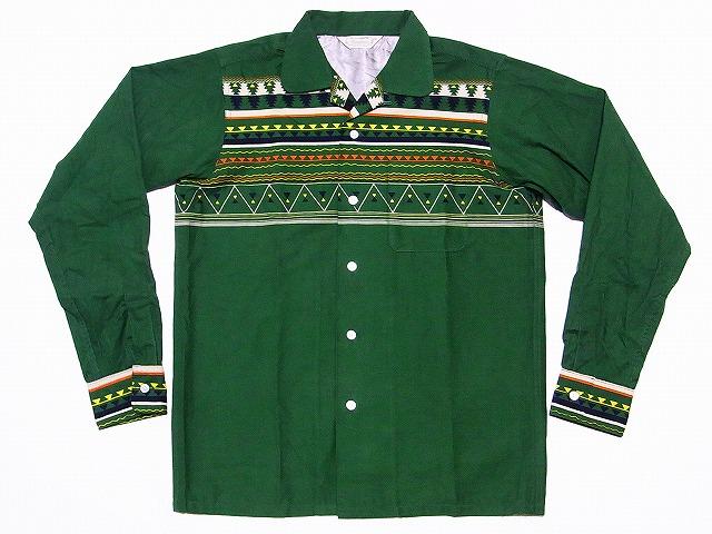 WAREHOUSE[ウエアハウス] オープンカラーシャツ プリント コーデュロイ 3066 (グリーン) 送料無料 代引き手数料無料
