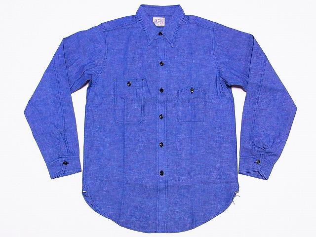 WAREHOUSE[ウエアハウス]×BIG YANK[ビッグヤンク] シャンブレーシャツ ガチャポケ 長袖 ブルー シャンブレー 3070 (サックス) 送料無料 代引き手数料無料