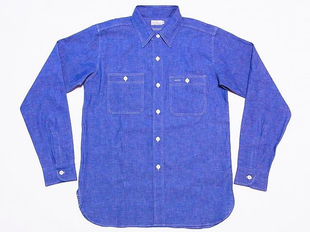 WAREHOUSE[웨어하우스]살브레이샤트트리프르스텟치 긴소매 워크 셔츠 3076 (삭스) 대금 상환 수수료 무료