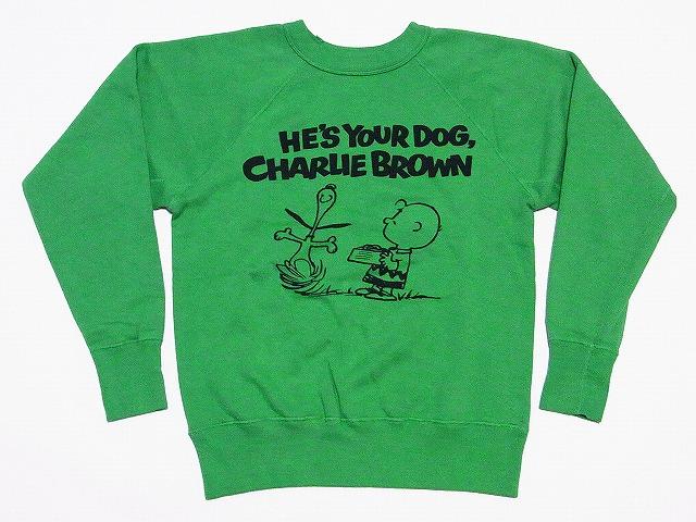 WAREHOUSE[ウエアハウス] スウェット ヴィンテージスヌーピー YOUR DOG SNOOPY チャーリーブラウン (モスグリーン) 送料無料 代引き手数料無料