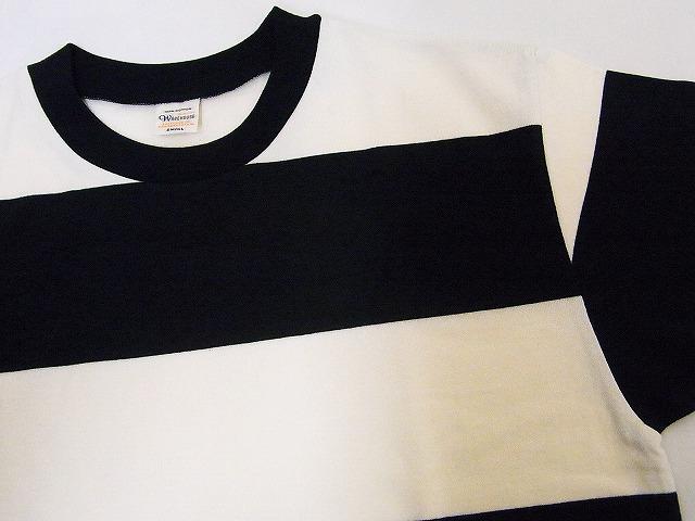 WAREHOUSE[웨어하우스] T셔츠 반소매 4 인치 보더 T셔츠 4052 (블랙×off-white)