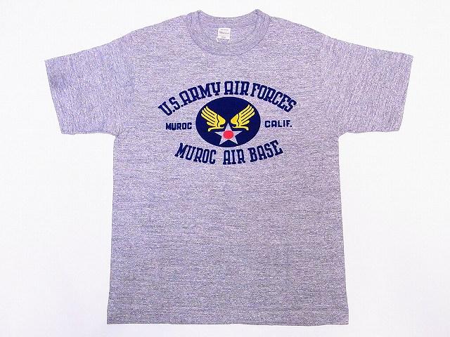 WAREHOUSE[ウエアハウス] Tシャツ MUROC AIR BASE 4601 (杢グレー)