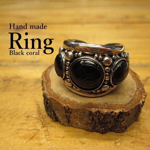 ブラックコーラル(黒珊瑚)リング(14号)【ハンドメイド*スタンピング】Silver925【メール便OK】指輪/ネイティブ/インディアン
