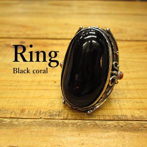 ブラックコーラル(黒珊瑚)リング(15号)【ハンドメイド*スタンピング】Silver925【メール便不可】指輪/ネイティブ/インディアン