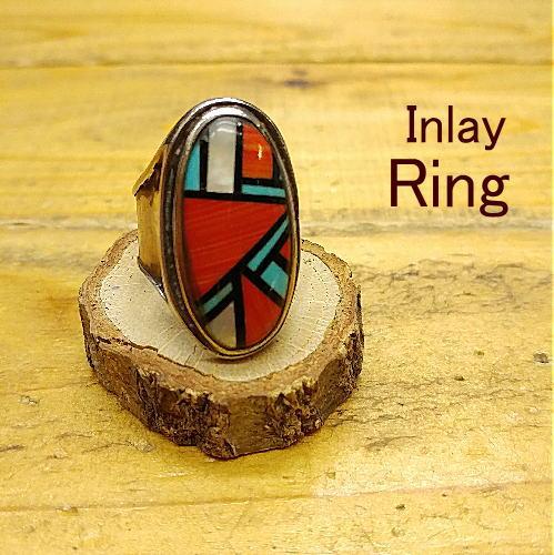 リング 20号【インレイ】珊瑚【ズニスタイル】ギフト プレゼント アクセサリー 指輪