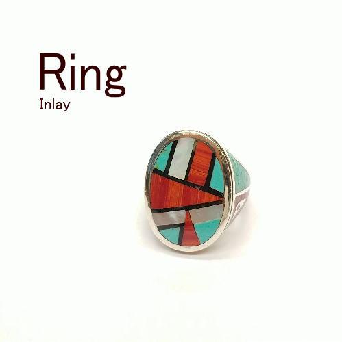 ターコイズ インレイリング(指輪)15号【Silver925】トルコ石【インディアンスタイル】ハンドメイド アクセサリー メンズ レディース ギフト