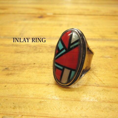リング【指輪石】インレイ【Silver925】ターコイズ シェル 20号/アクセサリー/ナチュラル/インディアン/ジュエリー/ズニ