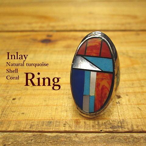 リング【インレイ】Silver925【メール便OK】指輪/オーバル/ネイティブ/インディアン