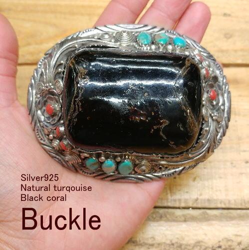 バックル【ハンドメイド】Silver925 ブラックコーラル(黒珊瑚)【ナバホスタイル】ベルト メンズ レディース ウエスタン インディアン