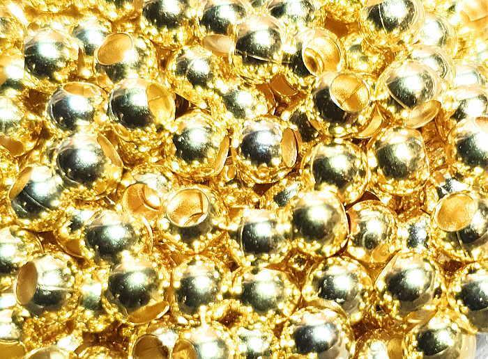 YG-5イエローゴールド5mmビーズ真鍮中空10粒入り イエローゴールドコーティング 1袋10粒入り 材料 ファッション通販 アクセサリー 舗 クラフト