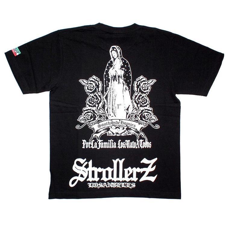 우 송료 0 엔 서해안 계 チカーノブランド STROLLERZ ストローラーズ 과달루페 프린트 T 셔츠 반 소매 T 셔츠 블랙 x 화이트