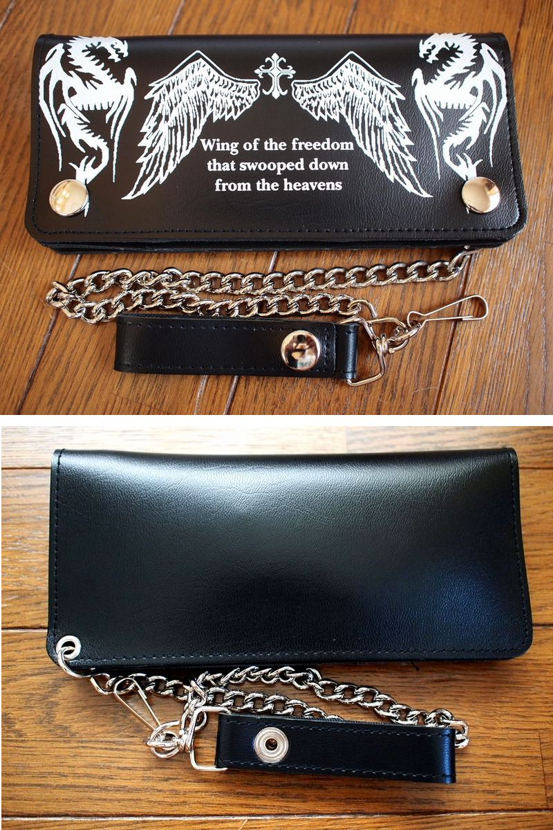Car wallet Elf mens wallet with mens Sikh cards put by men, wallet chain / leash combination skin print two folded