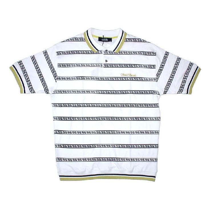 ボーダーのポロシャツは今シーズンも人気です 激安通販専門店 SALE ストリートスタイル SOUL BRAND ホワイト メンズPOLOシャツ オリジナル柄ボーダーポロシャツ 正規品スーパーSALE×店内全品キャンペーン ソウルブランド