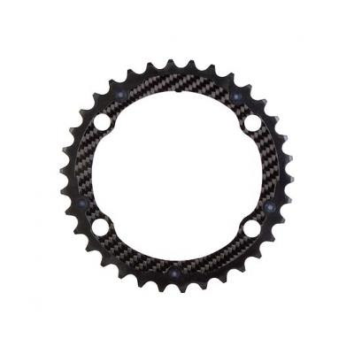 (CarbonTi/カーボンチ)(自転車用チェーンリング関連)チェ-ンリング (4アーム110/36T) アルミ(ブラック)/カーボン