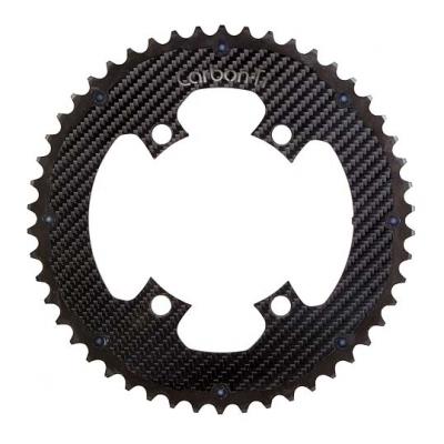 (CarbonTi/カーボンチ)(自転車用チェーンリング関連)チェ-ンリング (4アーム110/52T) アルミ(ブラック)/カーボン