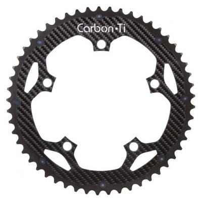 (カーボンチ/CarbonTi)(自転車用チェーンリング)(130/52T) アルミ(ブラック)/カーボン
