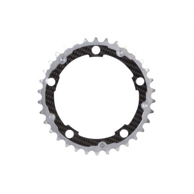 (カーボンチ/CarbonTi)(自転車用チェーンリング)(110/34/カンパ) 10S アルミ(シルバー)/カーボン