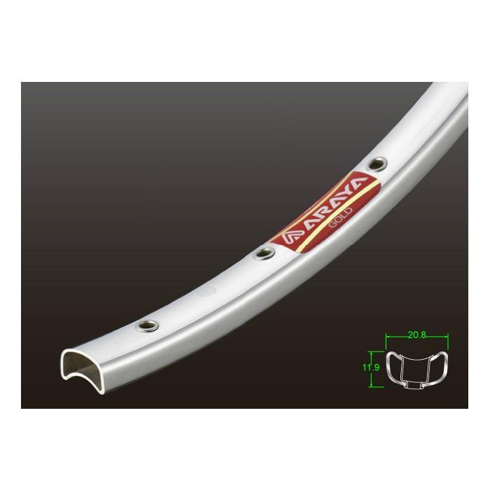 (ARAYA/アラヤ)(自転車用リム用品)16B ゴールド チューブラーリム (ポリッシュシルバー) 36H NJS