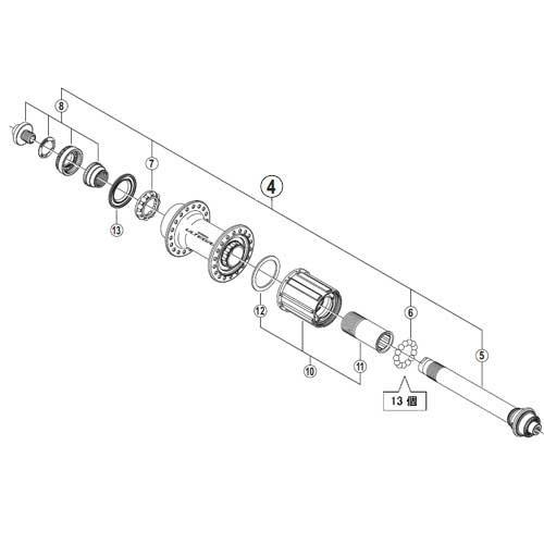 (SHIMANO/シマノ)(自転車用ホイール関連)WH-6800-R ハブ軸組立品