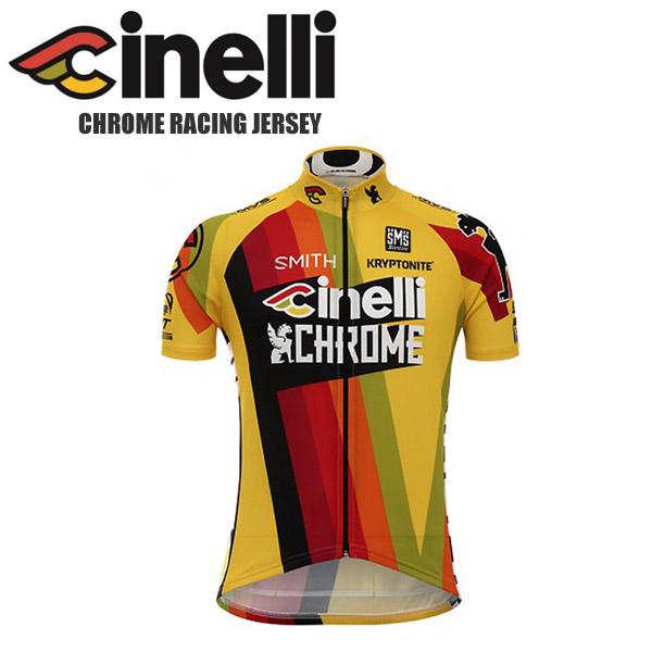 cinelli チネリ サイクルジャージ メンズ 半袖 CHROME RACING JERSEY クローム レーシング ジャージ サイクルウェア ロードバイクウェア