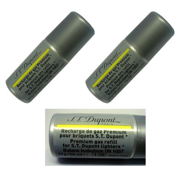 複数回注入型 新品正規品 デュポン(S.T.Dupont)ライター専用ガスボンベ(黄色 金色 ゴールド イエロー)2本セット☆おまけメンテブラシ付き!