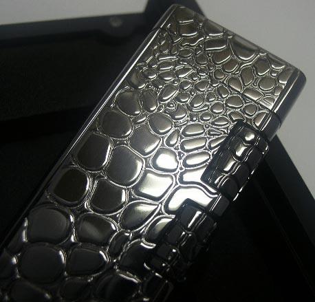 送料350円~ツインのローラー!SAROME(サロメ)ガスライターSD40-04(クロコ柄ガンメタル鏡面ミラー)