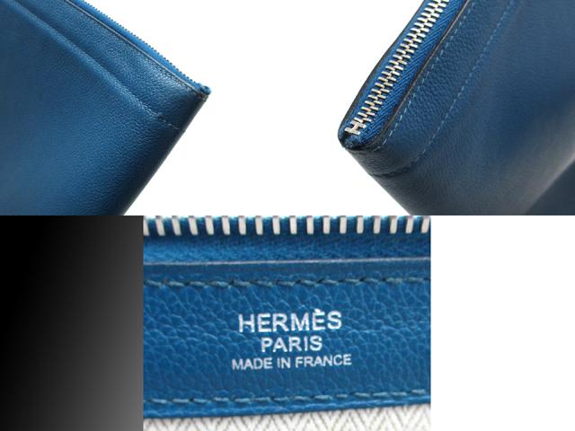 DAIKOKUYA  HERMES CLUTCH BAG ZIP COMPUTER BAG STAMP  □Q (MADE IN ... 12e08bc777b62
