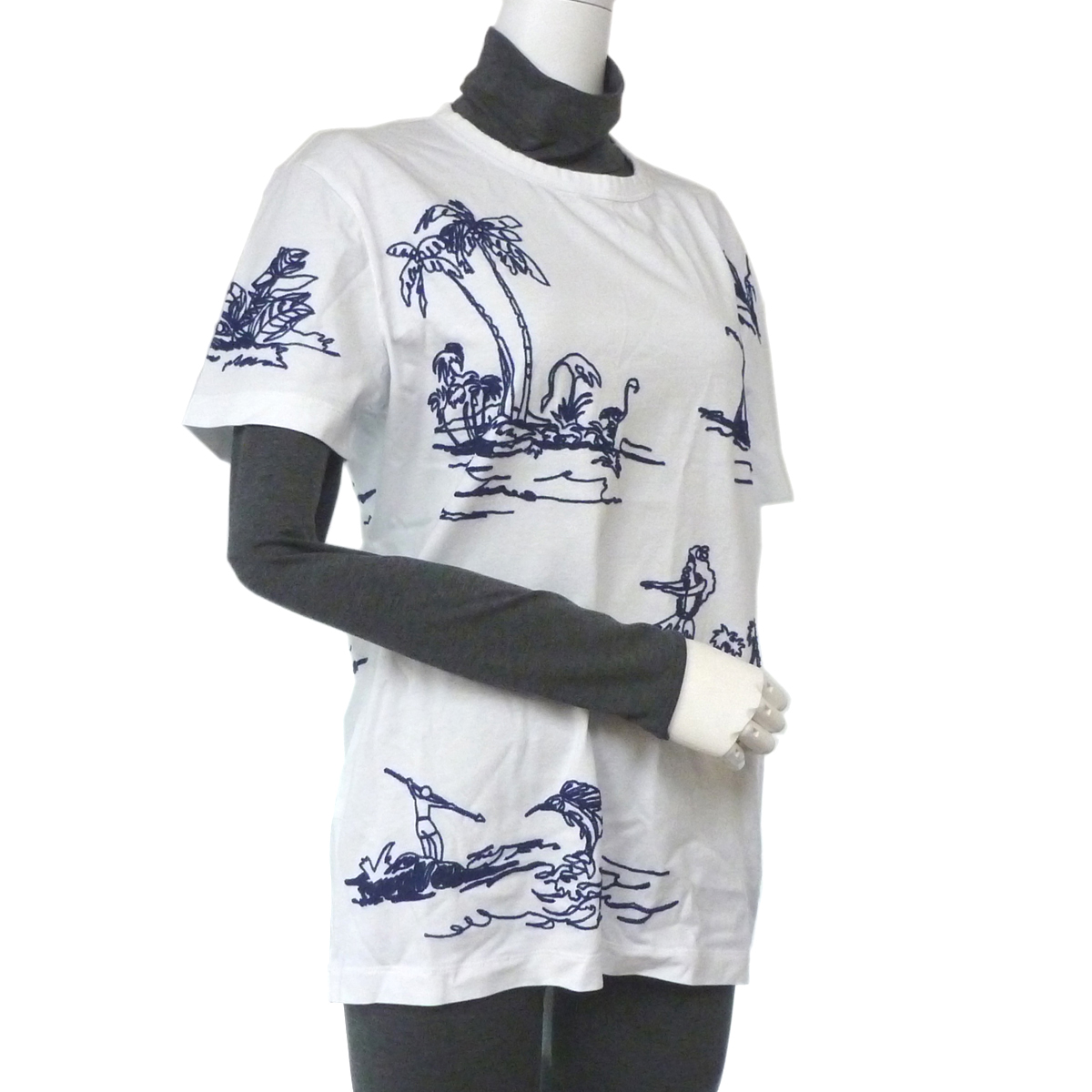[飯能本店]MONCLER モンクレール C1 091 8035151 Tシャツ #M コットン ホワイト 白色 ネイビー紺色 DH46636【大黒屋質店出品】【中古】【送料無料】