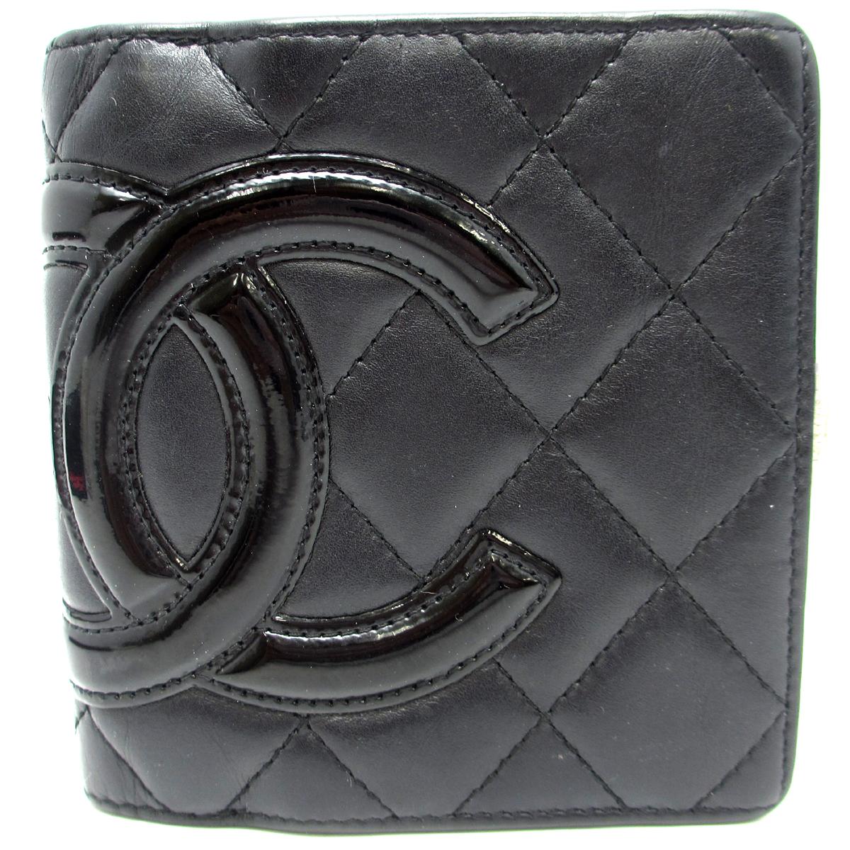 [飯能本店] CHANEL シャネル カンボンライン がま口財布 二つ折り財布 エナメル ブラック DH42216【大黒屋質店出品】 【中古】【送料無料】