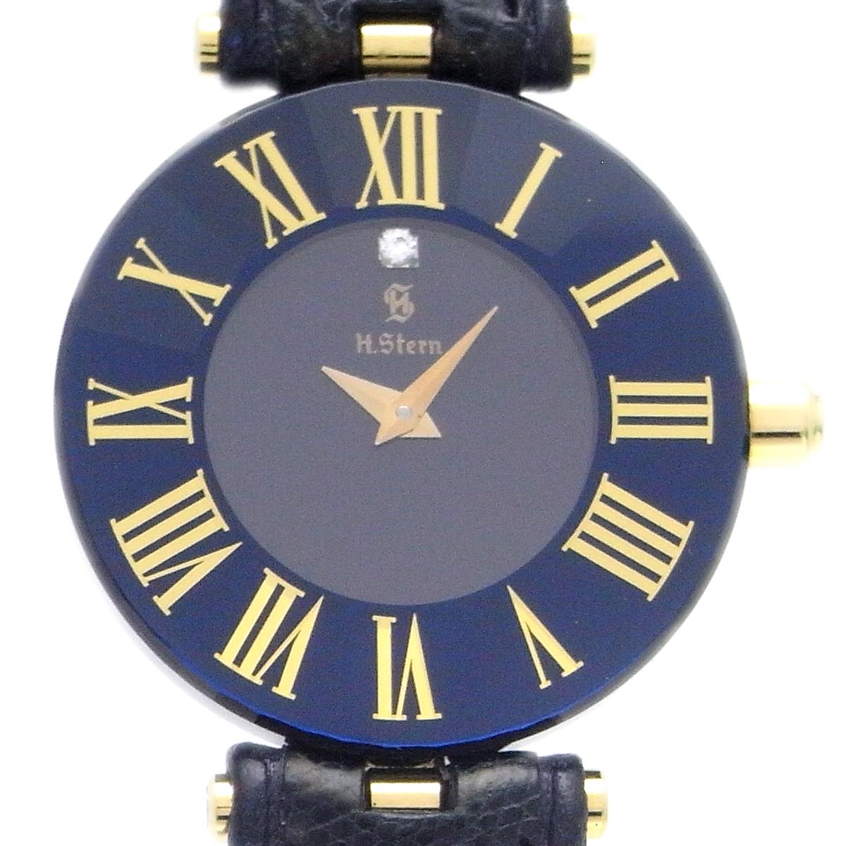 [飯能本店] H.Stern エイチ スターン 腕時計 750イエローゴールド ブラック 文字盤 レディース DH47076【大黒屋質店出品】 【中古】【送料無料】