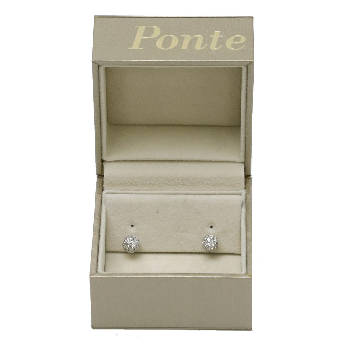 飯能本店Ponte Vecchio ポンテヴェキオ ダイヤモンド ピアス 750ホワイトゴールド レディース DH47596 大黒屋質店出品wvN0m8n