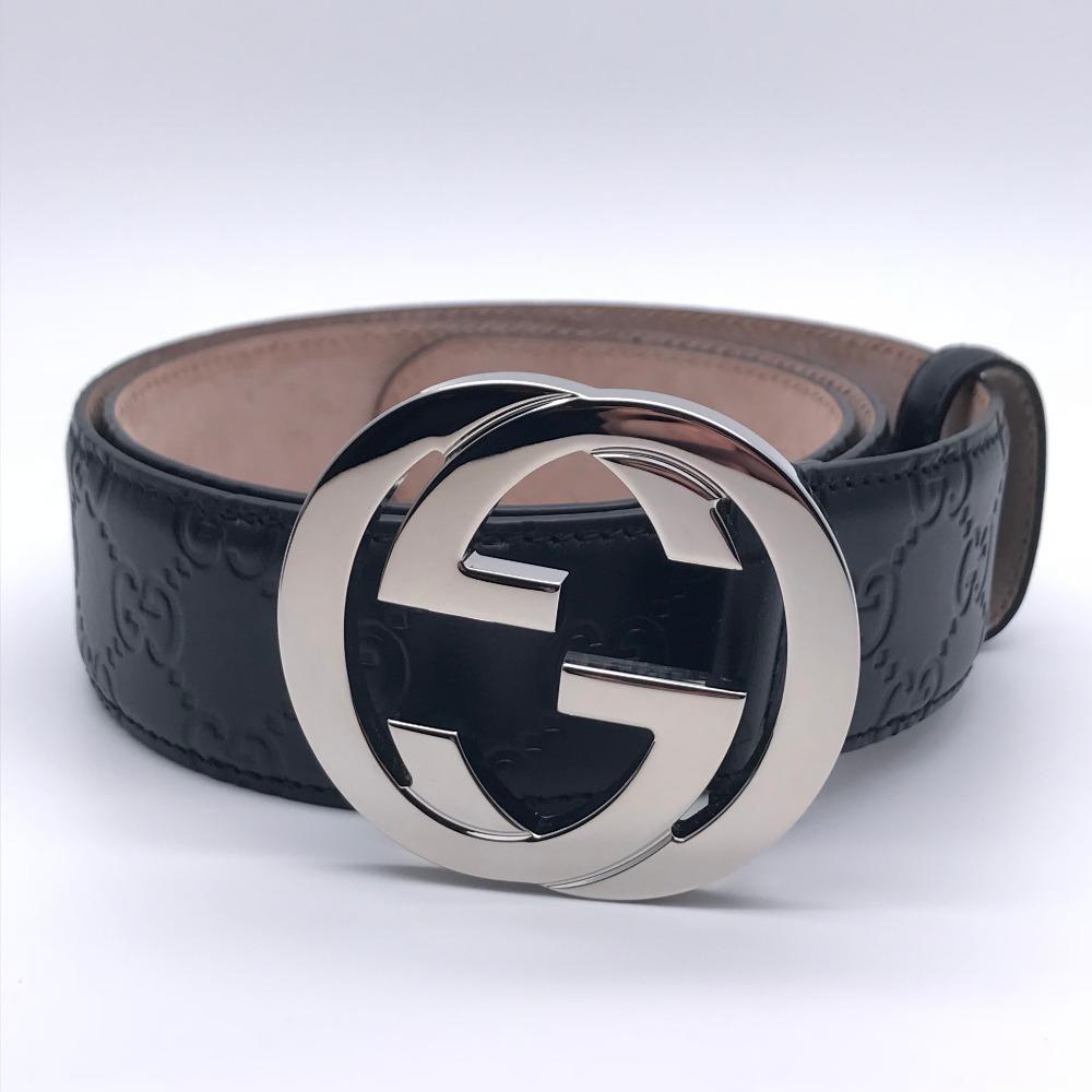 [銀座店] GUCCI グッチ インターロッキング GG 411924 ベルト レザー ブラック メンズ DH48717【大黒屋質店出品】 【中古】【送料無料】